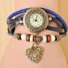 ONLY £4.99 = HEART VINTAGE WRAP WATCH = SEE@http://www.florencescoveljewelry.co.uk/collections/leather-vintage-charm-collection