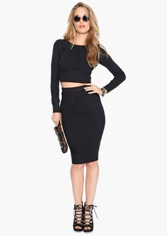 Sweater Pencil Skirt in Black | Necessary Clothing
