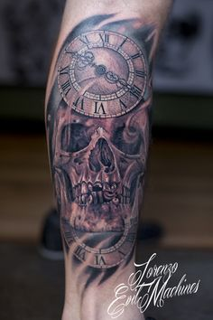 Skull with Watches - Realistic black and gray tattoo by Lorenzo Evil Machines - Roma - Italia