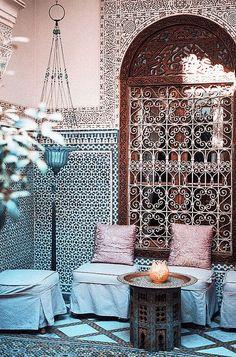 A lovely hidden corner in a beautiful Moroccan Riad. #Moroccan #Riad #Decor #Patterns #Interiordesign.