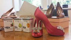 Amanzi Tea London & Aruna Seth butterfly shoes & clutch bags www.arunaseth.com