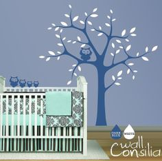 Nursery Tree with Owls Wall Sticker