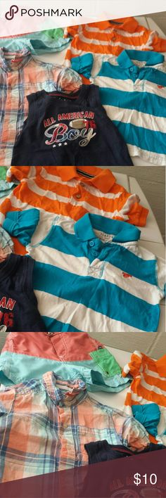 5 pc. 18 - 24 Mos Boys clothing bundle 2 Polo like shirts, 1 button up top, 1 tank top and 1 pair of swim trunks   Children's place,  wrangler, etc  Gently worn  Bundle for discount and save on shipping! Shirts & Tops