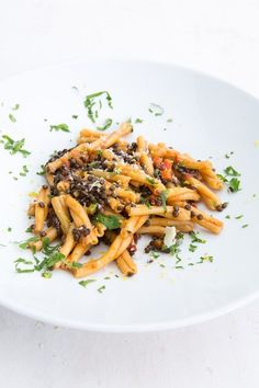 Pasta mit Linsen-Ragout - Famous Last Words Vegan Main Dishes, Tasty Dishes, Food Dishes, Pasta Al Dente, Go Veggie, How To Cook Pasta, Dinner Recipes, Good Food, Veggies
