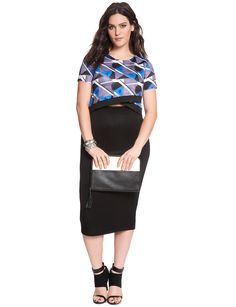 Geo Printed Crossover Top | Women's Plus Size Tops | ELOQUII