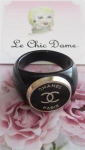 Chanel CC Black Gold Button Ring Paris France #Chanel