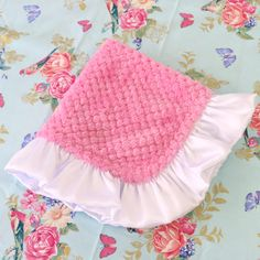 Our Medium Pink & White plush Lovie is the perfect snuggling accessory for your vintage inspired nursery. This soft little lovey will bring security to your little one.