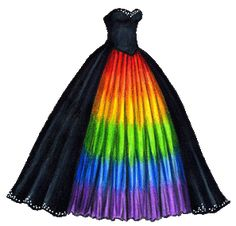 Masquerade Gown with Rainbow Underskirt Black Masquerade Gown with Rainbow Underskirt Cute Prom Dresses, Pretty Dresses, Beautiful Dresses, Wedding Dresses, Pride Outfit, Rainbow Wedding Dress, Rainbow Dresses, Rainbow Clothes, Masquerade Gown