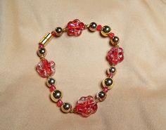 Glow in the Dark Flower Bracelet with magnetic Clasp by 1SwankyZebra on Etsy