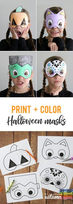 Print and color Halloween masks! Great for Halloween parties. These printable Halloween masks are an easy and inexpensive Halloween craft for kids. Great idea for kid's classroom Halloween parties! Visage Halloween, Printable Halloween Masks, Halloween Infantil, Maske Halloween, Classroom Halloween Party, Halloween Arts And Crafts, Halloween Activities For Kids, Easy Halloween Crafts, Halloween Tags