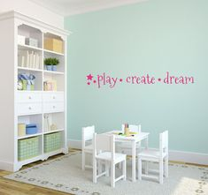 Playroom Wall Decal Play Create Dream by bushcreative on Etsy, $10.00