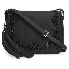 Women's Kate Spade New York 'Anderson Way - Lietta' Beaded Leather... (725 CAD) ❤ liked on Polyvore featuring bags, handbags, shoulder bags, black, kate spade crossbody, crossbody purses, leather purses, genuine leather handbags and leather crossbody purses