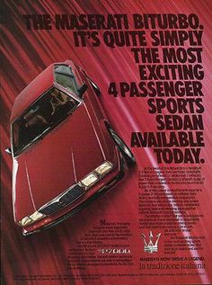 Maserati Biturbo Sport Sedan Automobile 1985 AD