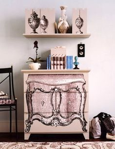 A little bit of ModPodge and a dash of creativity goes a really long way! I love seeing an old piece of furniture turn into new beautiful master piece.