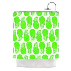 "Kess InHouse Anchobee ""Pinya Neon Green"" Lime Pattern Shower Curtain"
