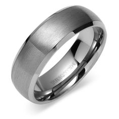 Beveled Edge Brush Finish 8mm Comfort Fit Mens Tungsten Carbide Wedding Band Ring Sizes 8 to 13