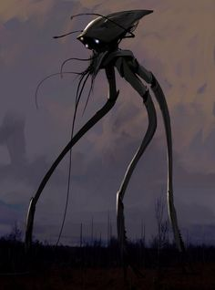 War of the Worlds - A robot from the movie which is an alien-robot looking thing with long tenticles coming down to the ground which pick up humans and lock them in a cage - http://media-cache-cd0.pinimg.com/736x/25/59/29/25592947a9cd4f8d67bf1dc78655609a.jpg (14/10/14)
