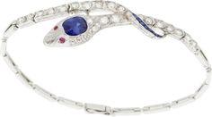 Estate šperky: náramky, Art Deco Sapphire, Diamond, Ruby, Platinum náramek.  ...