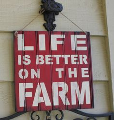 LIFE is Better at the FARM Sign/Red by TheGingerbreadShoppe, $19.95