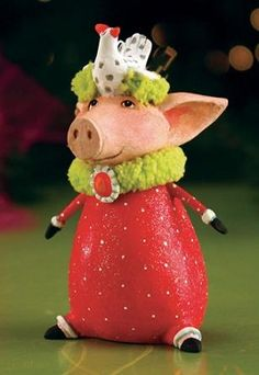 2013 Patience Brewster Krinkles, Phyllis Pig Mini Ornament