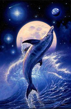 Dolphin Poster Fantasy Art 22X34 Moon Light Wave 6238