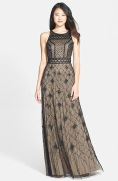 Free shipping and returns on Adrianna Papell Embellished Mesh gown at Nordstrom.com. This airy A-line gown is a vision with its twinkling latticework pattern and enchanting sway. The neutral color combination makes this dress a natural choice season after season.