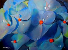 Diane Morgan - Blue Hydrangea- Oil - Painting entry - February 2016 | BoldBrush Painting Competition