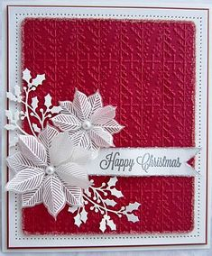 handmade Christmas card from PartiCraft (Participate In Craft) blog ... red and white ... delicate die cut holly flourishes .. white embossed, die cut and layered poinsettia ... embossing folder textured background ... shabby chic ...
