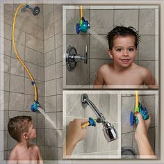 This shower head that brings things down to your toddler's level.   24 Ingenious Products That Make Life With A Toddler So Much Easier