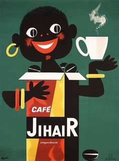 Seguin.   Cafe Jihair.   Lithograph 1959.   Size: 60.6 x 44.8 in. (154 x 114 cm).   Printer: Guy Ternisien, Paris.   Condition Details: (B/B+) was folded, on linen, minimally trimmed, small repaired tears at the edges and at the folds, small restored paper loss repair (1x3 in/2x7 cm) in the hair.