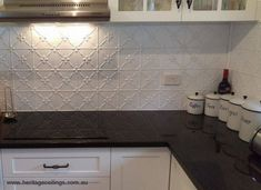 Photo of stunning splashback using the Rosemary pressed metal panels. Inexpensive Backsplash Ideas, Tin Backsplash Kitchen, Kitchen Tiles Backsplash, Metal Kitchen, Kitchen Cabinets And Countertops, Pressed Tin Backsplash Kitchens, Kitchen Upgrades, Kitchen Splashback, Splashback