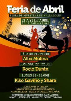 Feria de Valladolid acoge este fin de semana, del 21 al 23, la celebración de la Feria de Abril. Actuaciones en directo, misas rocieras, grupos de flamenco, coros rocieros, paseos en caballo para niños.... de 12.00 a 00.00 horas. El precio de la entrada es de 5 euros. Os Dejamos un video que nos ha pasado la organización. Esperamos vuestra visita!