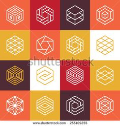 Vector linear hexagon logos and design elements - abstract icons for different business and technologies - stock vector
