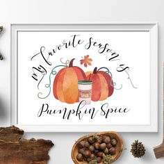 ★ MY FAVORITE SEASON IS PUMPKIN SPICE ★ feel the taste of Pumpkin Spice latte's, smell falling leaves, and cold air! It's a cozy sweater weather now! And harvest time wall art for the best time of the year...