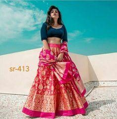 Want to look traditional but classy? Find latest Banarasi Lehenga Designs for weddings. Best Banarasi Lehengas of 2020 you cannot afford to miss. Pakistani Bridal Lehenga, Indian Lehenga, Lehenga Choli Wedding, Bridal Dupatta, Blue Lehenga, Choli Designs, Lehenga Designs, Blouse Designs, Indian Fashion Dresses