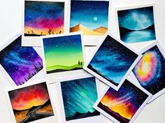 wonderful from each other beach canvas painting, aesthetic painting, underwater painting, chalk kitchen, fondos painting ideas. Check out other amazing examples Small Canvas Art, Mini Canvas Art, Watercolor Galaxy, Watercolor Paintings, Watercolour On Canvas, Galaxy Painting Acrylic, Watercolor Trees, Watercolor Portraits, Watercolor Landscape