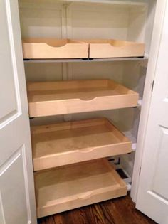 Pantry Pull Out Shelves Small Kitchen Decor, Pantry Remodel, Tub Remodel, Shelves, Kitchen Pantry Design, Narrow Pantry, Pantry Cupboard, Roll Out Shelves, Pull Out Shelves