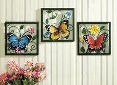 Fluttering Butterfly Wall Art Trio