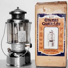 Vintage Coleman Quick Lite Gas Lantern Camping Table Lamp