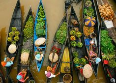 A traditional floating market which's still exist til now.  Lokbaintan.. South Borneo, Indonesia.