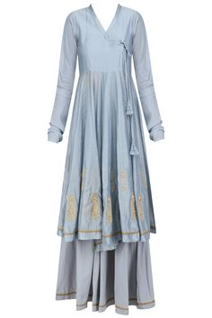 Powder blue embroidered angrakha style kurta and flared pants set available only at Pernia's Pop Up Shop.