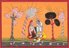 Radha Krishna in the Basholi Idiom - So cute