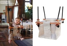 Solvej Baby/Toddler Swing - Soft Linen. Made in New Zealand. Beautiful craftsmanship!  For children 6 mos to 6 years.