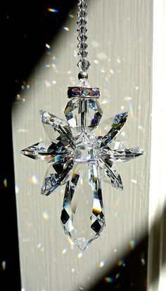 """Guardian Angel, Swarovski Crystal Suncatcher for Home or Car Mirror, Angel of Protection, Memorial Gift, in 3 Lengths - """"ANGELINA"""" All Clear Wire Crafts, Bead Crafts, Angel Protection, Swarovski Crystal Beads, Memorial Gifts, Diy Christmas Ornaments, Suncatchers, Wind Chimes, Glass Art"""