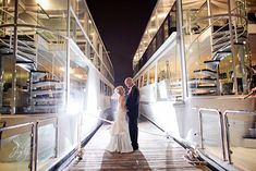 cute picture in between boats on Electra Cruises #wedding