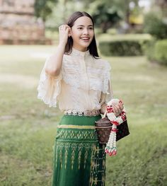Thai Traditional Dress, Traditional Wedding Dresses, Traditional Fashion, Traditional Outfits, Myanmar Dress Design, Dress Outfits, Fashion Outfits, Thai Dress, Silky Dress