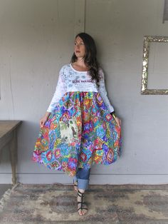 upcycled clothing Tshirt dress loose fit recycled summer