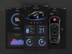 Tesla App Concept clean iphone control black product interface car tesla ux ui app A redesign project I've doing since last year, still working on it. Web And App Design, Mobile App Design, Mobile App Ui, Dashboard Ui, Dashboard Design, Ui Ux Design, Auto Ui, Car App, Iphone