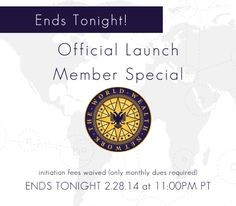 WWN Member Special ENDS TONIGHT! Hurry up and join for just the $150 monthly member dues (initiation fee waived). #wwn #worldwealthnetwork #member #membership #group #organization #club #affiliate #learning #education #life