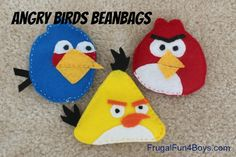 Angry Birds beanbags made out of felt and stuffed with rice. So fun to use them to knock down block towers!!
